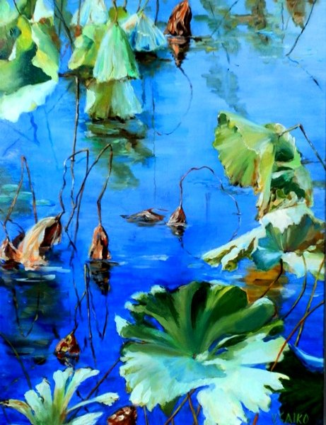 Lotus Pond 1, 18x24 inch, oil on canvas