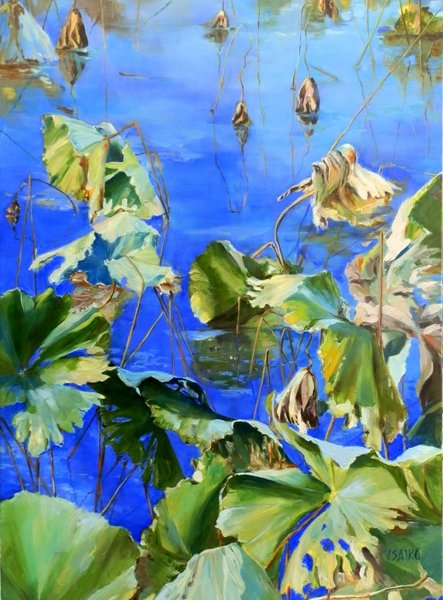 Lotus Reflection 2, 24x36 inch, oil on canvas