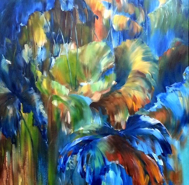 Lotus in Rain, 30 x 40 inch, oil on canvas, sold