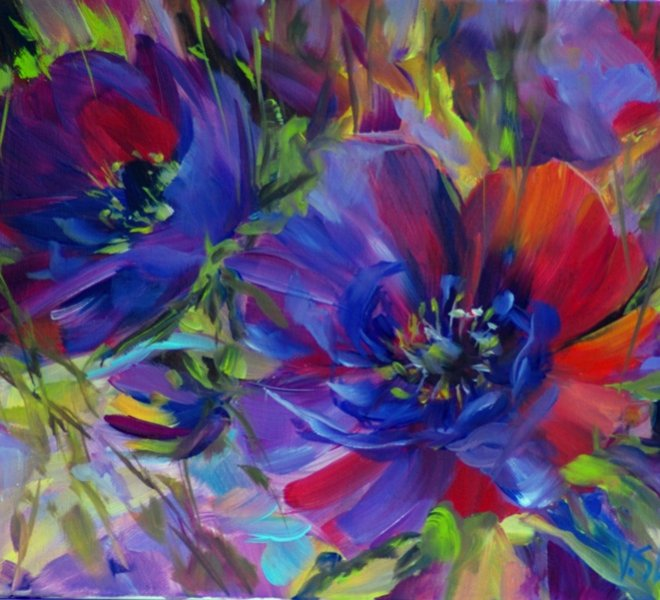 Purple anemones, 16 x 12 inch, oil on canvas