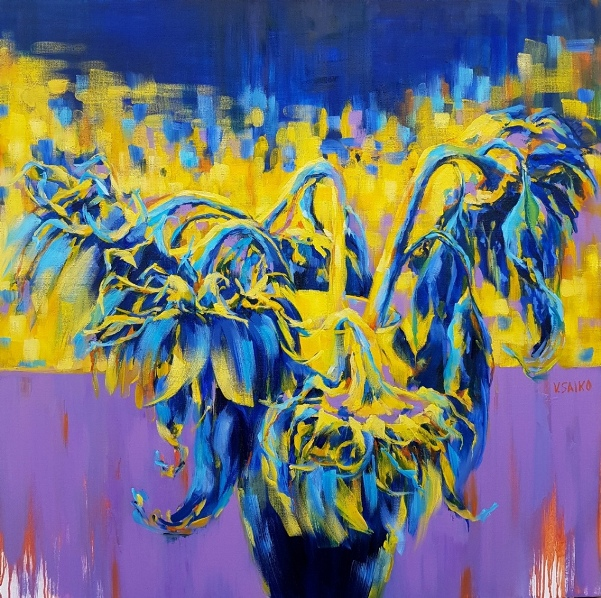 Sunflowers in vase, 36 x 36 inch, oil on canvas
