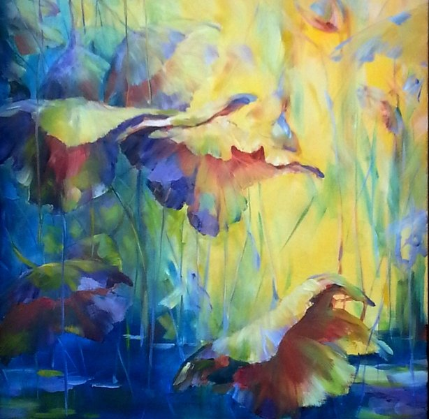 Sunset in Lotus Pond, 30 x 40 inch, oil on canvas