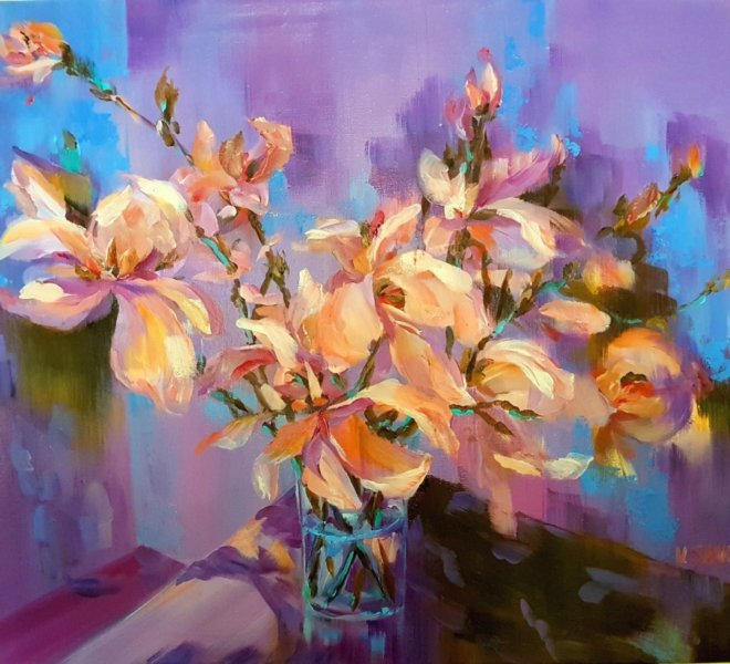 Branch of Magnolia, 24x 30 inch, oil on canvas