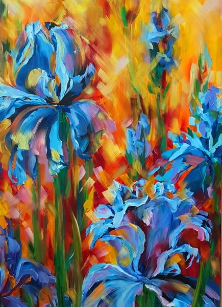 Irises 1, 48 x 24 inch, oil on canvas