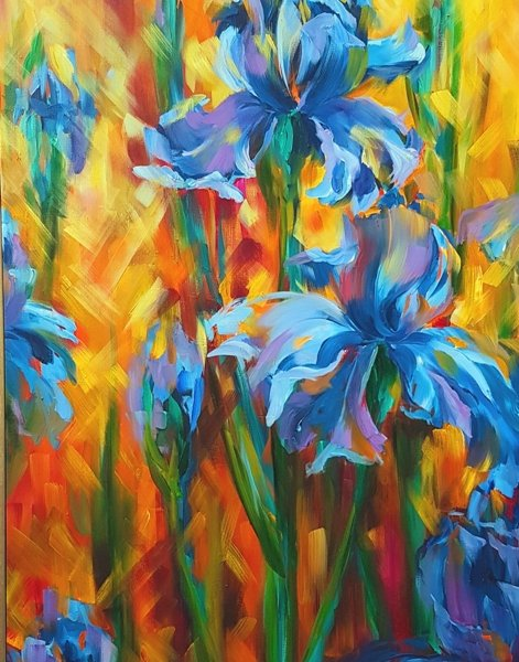 Irises 2, 48 x24 inch, oil on canvas