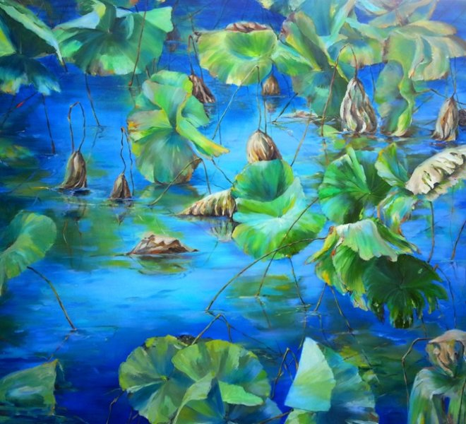 Lotus Pond, 72 x 48 inch, oil on canvas