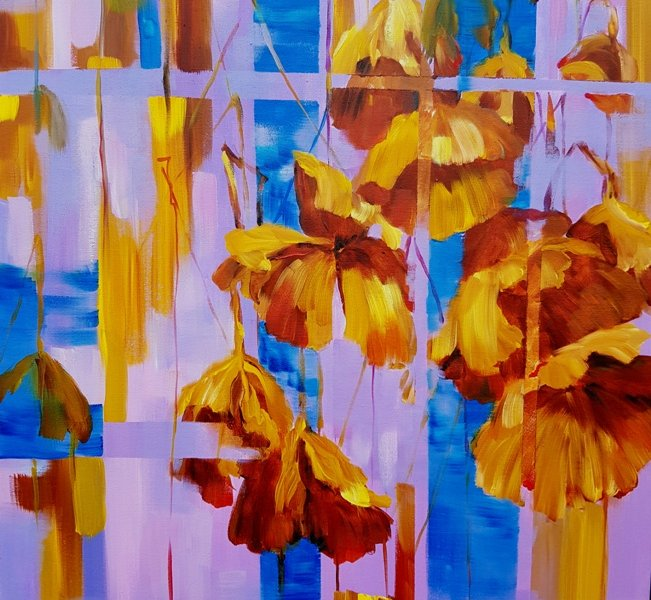 Lotus Leaves. Seasons, 30x 24 inch, oil on canvas