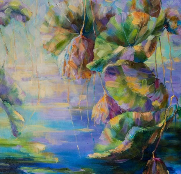 Lotus. End of Season 1, 30 x 40 inch, oil on canvas, sold