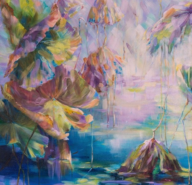 Lotus. End of season 2, 30 x 40 inch, oil on canvas, sold