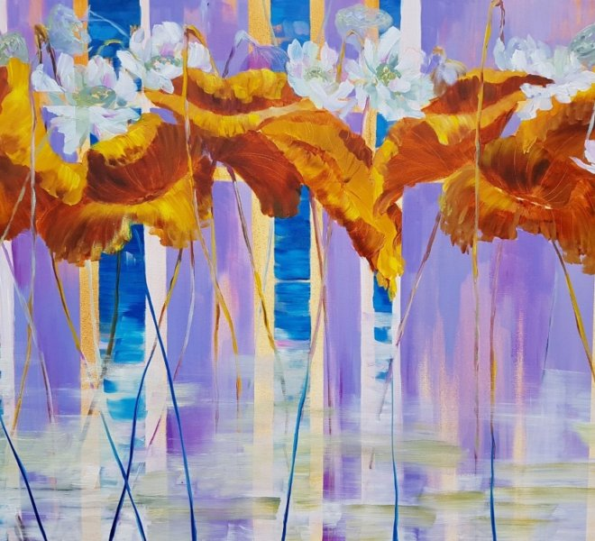 Lotus. Seasons, 48x36 inch, oil on canvas