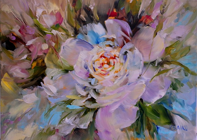 White peonies, 9 x 16 inch, oil on canvas
