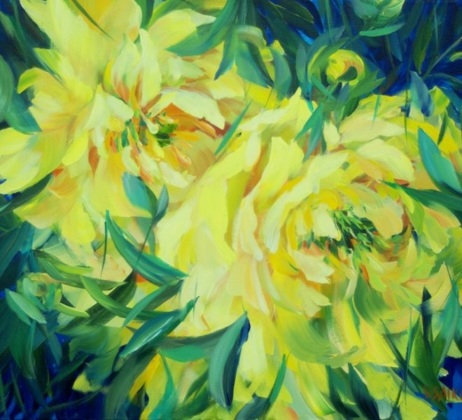 Yellow Peonies. Couple, 30 x 24 inch, oil on canvas, SOLD