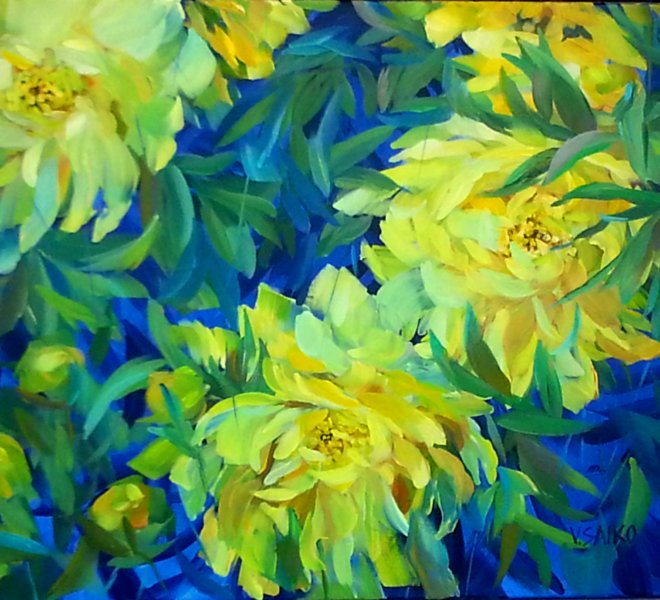 Yellow Peonies. Sunny Day!, 30 x 24 inch, oil on canvas
