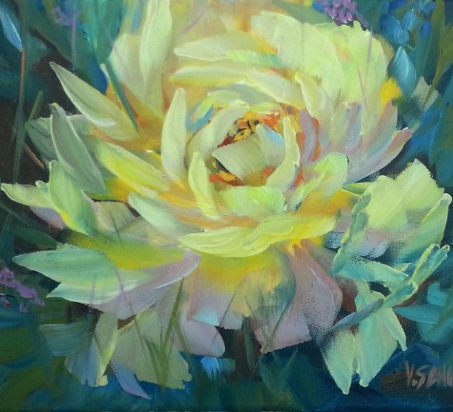 Yellow Peony, 12 x 16 inch, oil on canvas