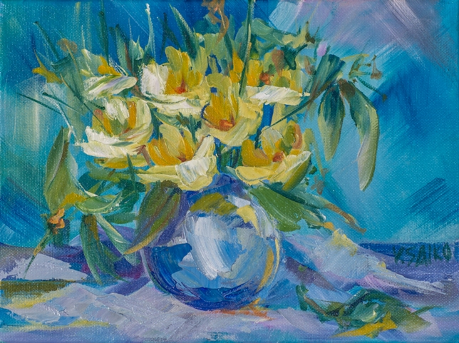 Yellow Spring Flowers, 9 x 12 inch, oil on canvas